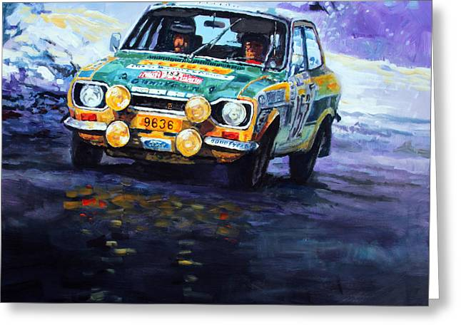 1977 Greeting Cards - 1977 Rallye Monte Carlo Ford Escort RS 2000 #152 Beauchef Dubois Keller Greeting Card by Yuriy Shevchuk