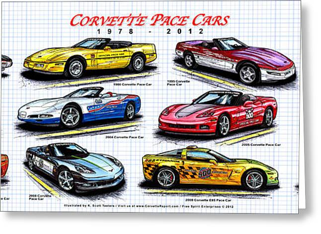 Indy Car Greeting Cards - 1978 - 2012 Indy 500 Pace Car Corvettes Greeting Card by K Scott Teeters