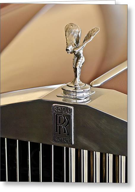 Vintage Hood Ornaments Greeting Cards - 1978 Rolls-Royce Hood Ornamaent Greeting Card by Jill Reger