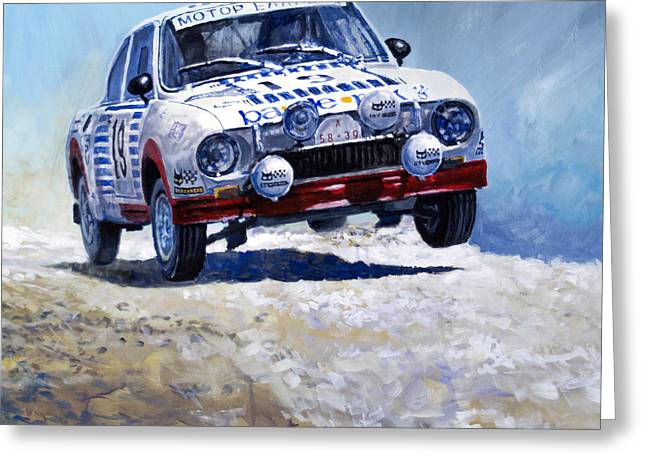 Acropolis Greeting Cards - 1978 Skoda 130 RS #19 Rally Acropolis Haugland Greeting Card by Yuriy Shevchuk