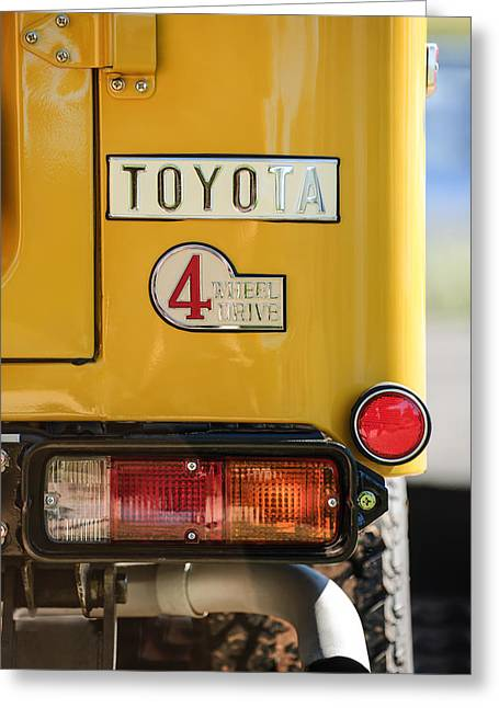 Famous Photographer Greeting Cards - 1978 Toyota Land Cruiser FJ40 Taillight Emblem -1191c Greeting Card by Jill Reger
