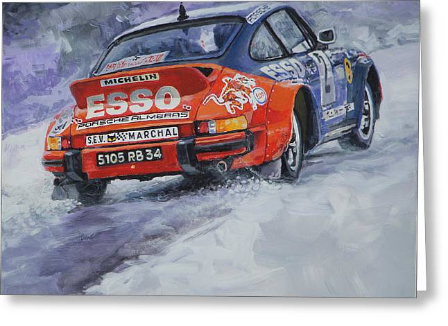 Classic Auto Greeting Cards - 1980 Rallye Monte Carlo Porsche 911 SC Hannu Mikkola  Greeting Card by Yuriy Shevchuk