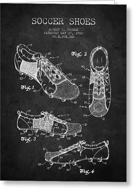 Soccer Drawings Greeting Cards - 1980 Soccer Shoe Patent - Charcoal - NB Greeting Card by Aged Pixel