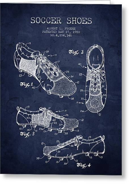 Soccer Drawings Greeting Cards - 1980 Soccer Shoe Patent - Navy Blue - NB Greeting Card by Aged Pixel