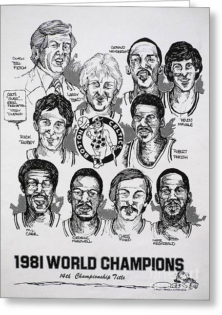 Celtics Basketball Greeting Cards - 1981 Boston Celtics Championship newspaper Poster Greeting Card by Dave Olsen