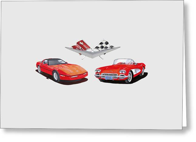 Recently Sold -  - Shower Curtain Greeting Cards - 1986 and 1961 Corvettes Greeting Card by Jack Pumphrey