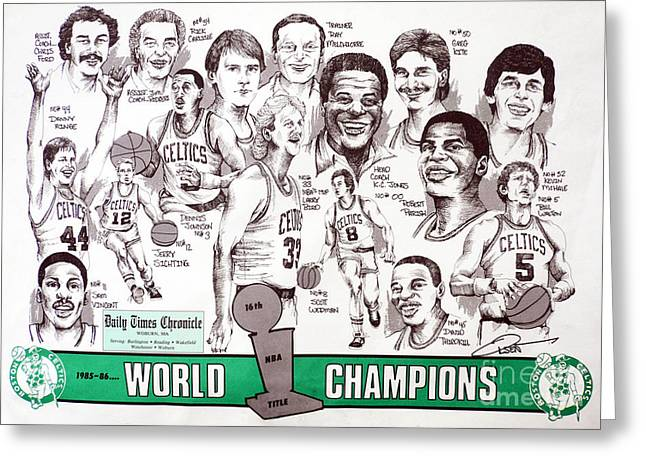 Nba Champion Greeting Cards - 1986 Boston Celtics Championship newspaper Poster Greeting Card by Dave Olsen