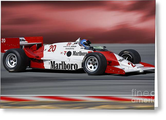 Indy Car Greeting Cards - 1986 March 86C INDY Car Greeting Card by Tad Gage
