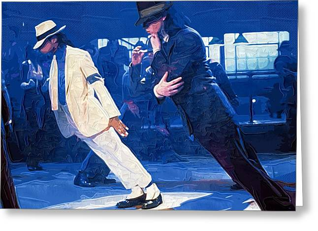 People Greeting Cards - 1987 Michael Jackson on the set of the Smooth Criminal Greeting Card by Victor Gladkiy