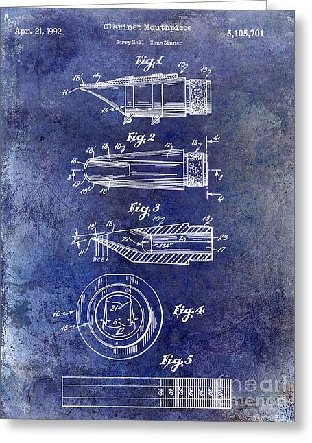 Philharmonic Greeting Cards - 1992 Clarinet Mouthpiece  Patent Blue Greeting Card by Jon Neidert