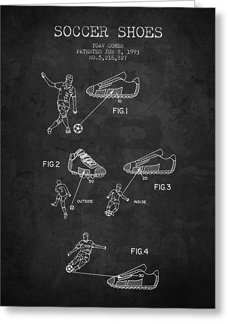 Soccer Drawings Greeting Cards - 1993 Soccer Shoes Patent - Charcoal - NB Greeting Card by Aged Pixel