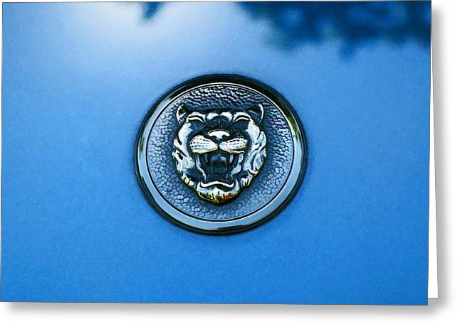 Collector Hood Ornament Greeting Cards - 1995 Jaguar X J S Hood Emblem Greeting Card by Allen Beatty