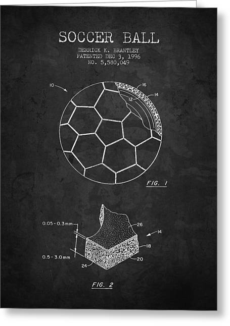Soccer Drawings Greeting Cards - 1996 Soccer Ball Patent Drawing - Charcoal - NB Greeting Card by Aged Pixel