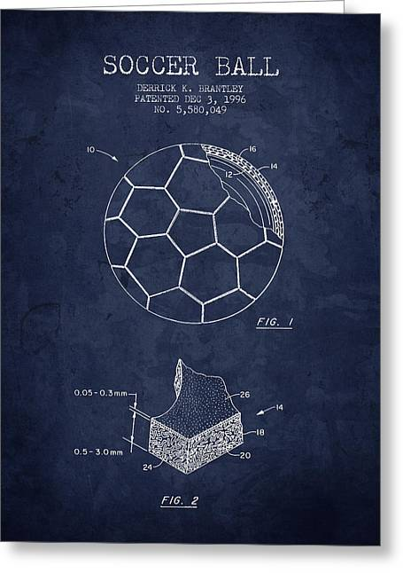 Technical Drawings Greeting Cards - 1996 Soccer Ball Patent Drawing - Navy Blue - NB Greeting Card by Aged Pixel