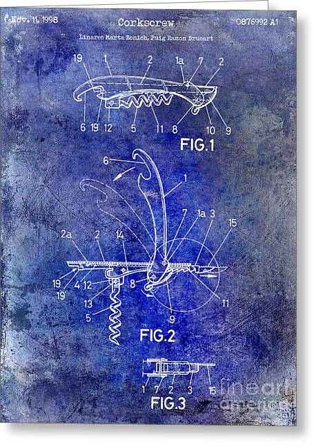 Merlot Greeting Cards - 1998 Corkscrew Patent 2 Blue Greeting Card by Jon Neidert