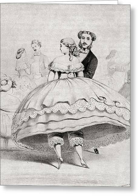 Dress Greeting Cards - 19th Century Lady Arriving At A Ball Greeting Card by Ken Welsh
