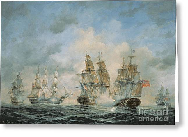 """sailing Ship"" Greeting Cards - 19th Century Naval Engagement in Home Waters Greeting Card by Richard Willis"