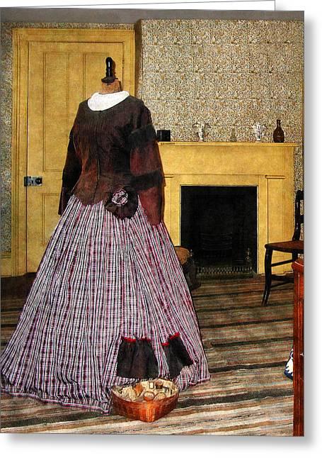 Dresses Greeting Cards - 19th Century Plaid Dress Greeting Card by Susan Savad