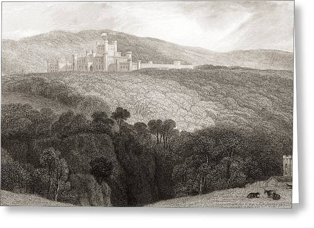 Historic England Drawings Greeting Cards - 19th Century View Of Lowther Castle Greeting Card by Ken Welsh