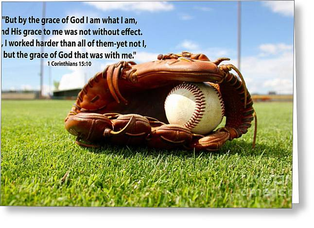 1st Corinthians15 Verse 10 With Baseball Theme Greeting Card by Barbara Dalton