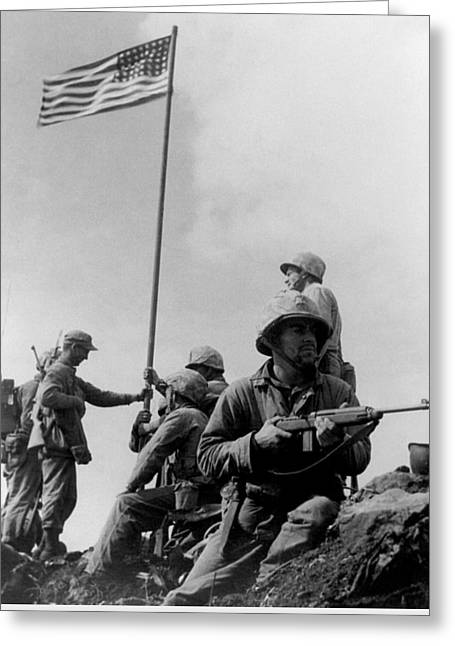 1st Flag Raising On Iwo Jima  Greeting Card by War Is Hell Store