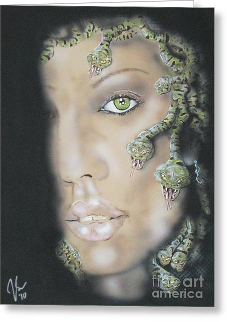 Jessica Alba Paintings Greeting Cards - 1st Medusa Greeting Card by John Sodja