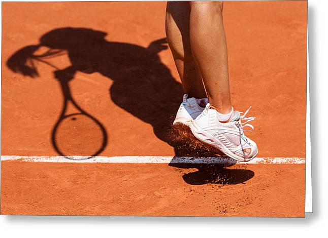 Tennis Greeting Cards - 1st Serve Greeting Card by Herve Loire
