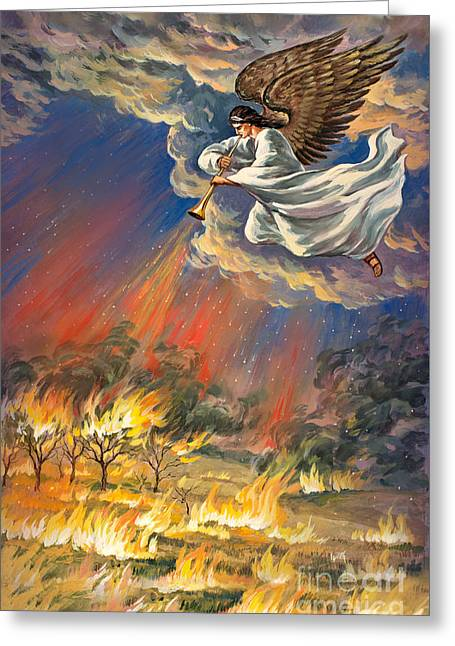 The Leaver Greeting Cards - Original Painting Revelation 8-7 signed Greeting Card by Vigovsky