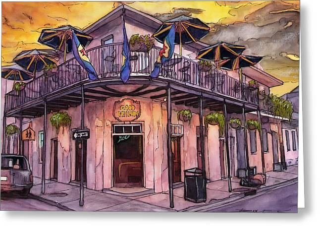 Louisiana Greeting Cards - 2           French Quarter Good Friends Bar Greeting Card by John Boles