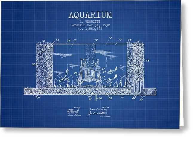 1932 Aquarium Patent - Blueprint Greeting Card by Aged Pixel
