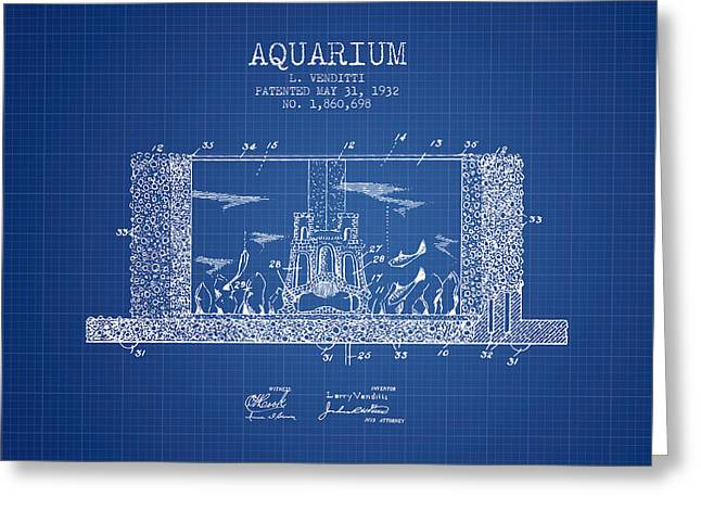 Fish Bowl Greeting Cards - 1932 Aquarium Patent - Blueprint Greeting Card by Aged Pixel