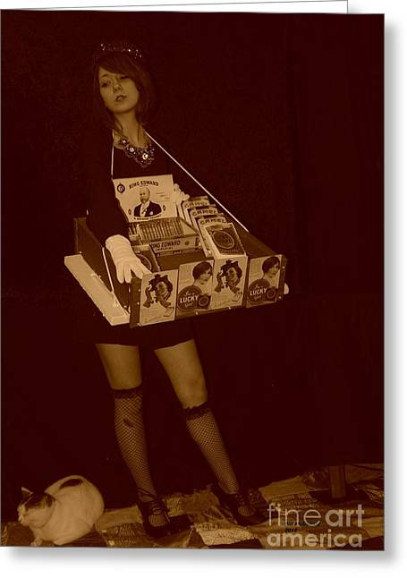 Sepia Pastels Greeting Cards - 1940s Cigarette Girl Greeting Card by Bill McDonald