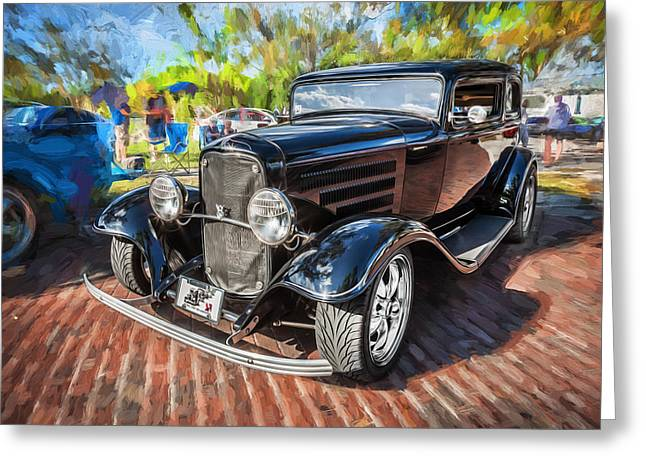 1932 Ford Greeting Cards - 1932 Model A Ford Coupe Painted Greeting Card by Rich Franco