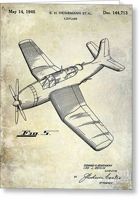 1946 Airplane Patent Greeting Card by Jon Neidert