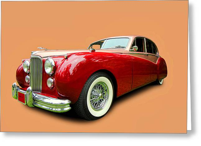 Collector Hood Ornament Greeting Cards - 1953 Jaguar M K V II Greeting Card by Allen Beatty