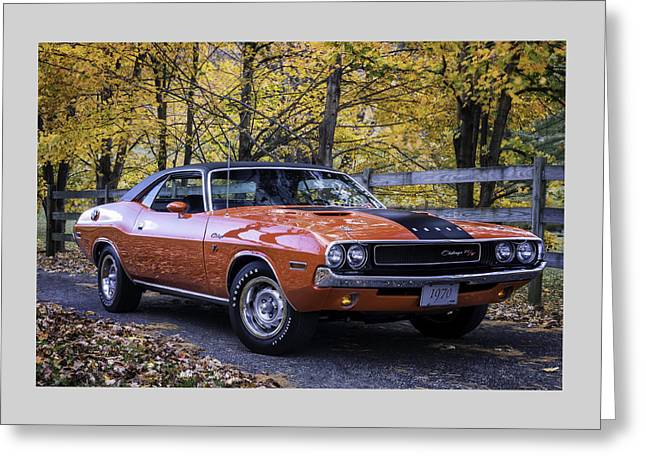 Legendary Greeting Cards - 1970 Dodge Challenger RT  Greeting Card by Thomas Schoeller