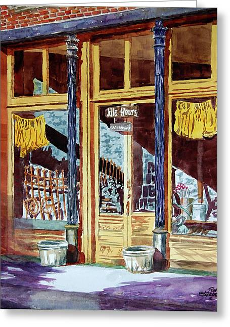 5 O'clock On Pecan St. Greeting Card by Ron Stephens