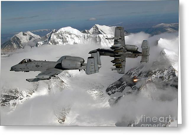 A-10 Thunderbolt IIs Fly Greeting Card by Stocktrek Images