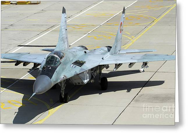Aa Greeting Cards - A Bulgarian Air Force Mig-29 Aircraft Greeting Card by Anton Balakchiev