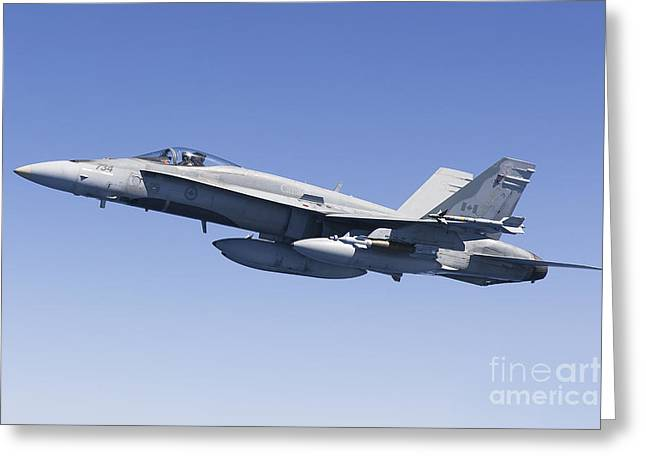 Foreign Military Greeting Cards - A Cf-188a Hornet Of The Royal Canadian Greeting Card by Gert Kromhout