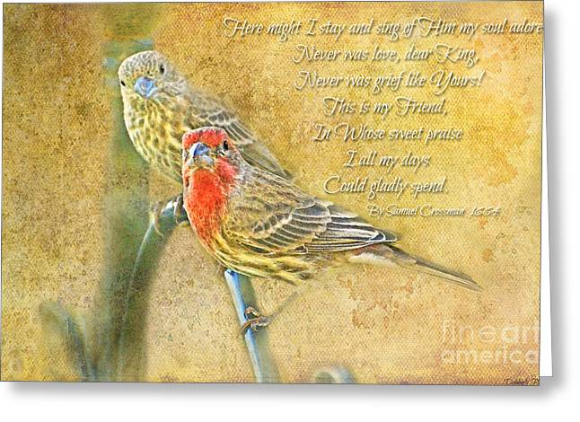 Debbie Portwood Greeting Cards - A Pair of Housefinches with Verse part 2 - Digital Paint Greeting Card by Debbie Portwood