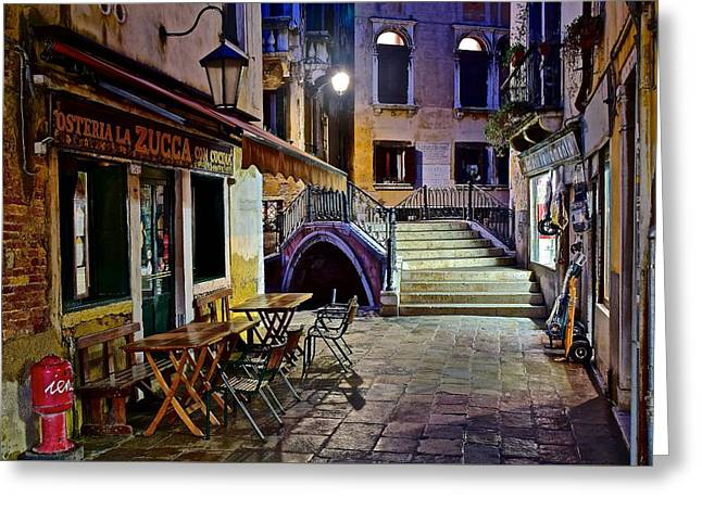 An Evening In Venice Greeting Card by Frozen in Time Fine Art Photography