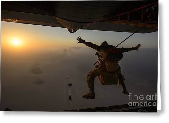 Drop Zone Greeting Cards - A U.s. Air Force Pararescueman Jumps Greeting Card by Stocktrek Images