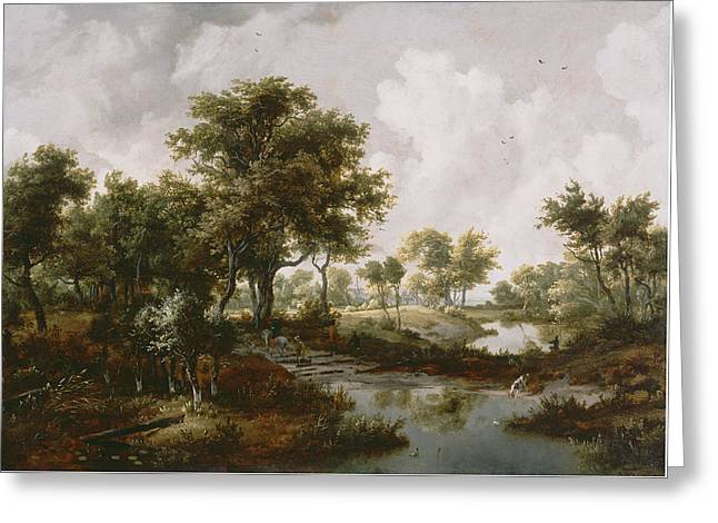 Prospects Greeting Cards - A Wooded Landscape Greeting Card by Meindert Hobbema