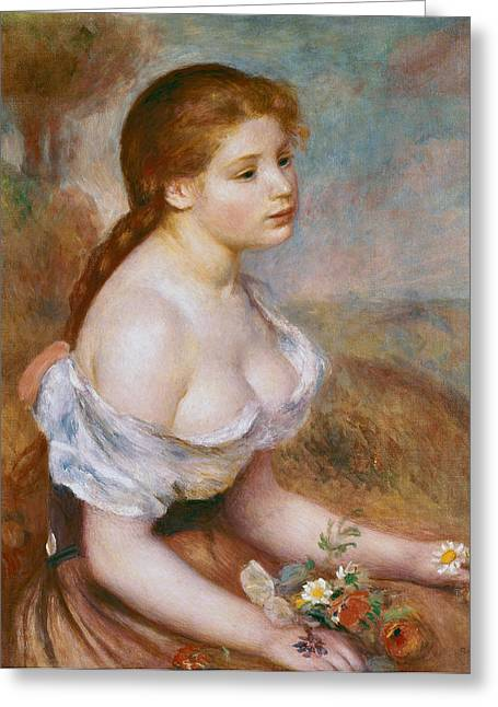 Renoir Greeting Cards - A Young Girl with Daisies Greeting Card by Pierre-Auguste Renoir