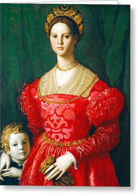 A Young Woman And Her Little Boy Greeting Card by Bronzino