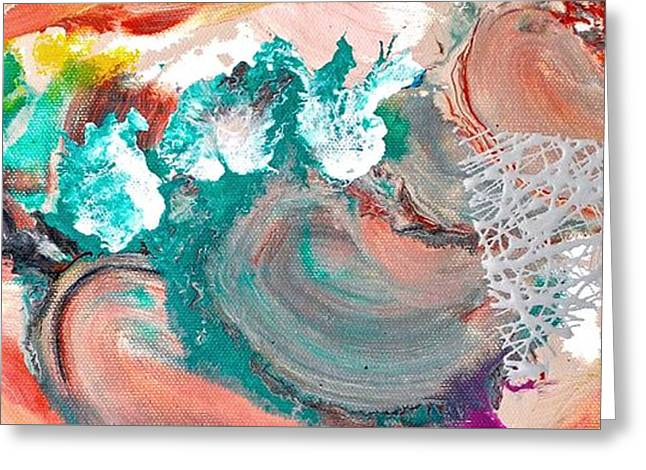 Abstractions Greeting Cards - Abstract acrylic painting picture Greeting Card by Sumit Mehndiratta