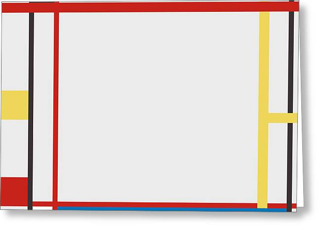 Abstract Composition 06 Piet Mondrian Style Greeting Card by Celestial Images