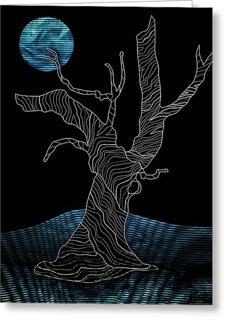 Gnarly Drawings Greeting Cards - Abstract Gnarly Tree Greeting Card by Serena King