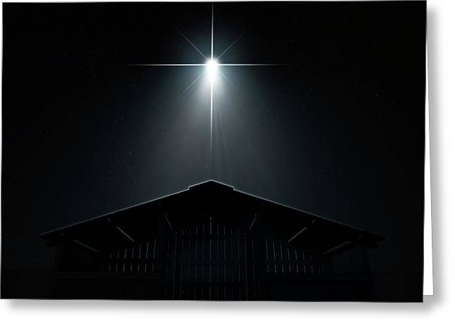 Abstract Nativity Scene Greeting Card by Allan Swart